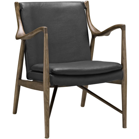 Modway Furniture Modern Makeshift Leather Lounge Chair Walnut Black, Chairs - Modway Furniture, Minimal & Modern - 1