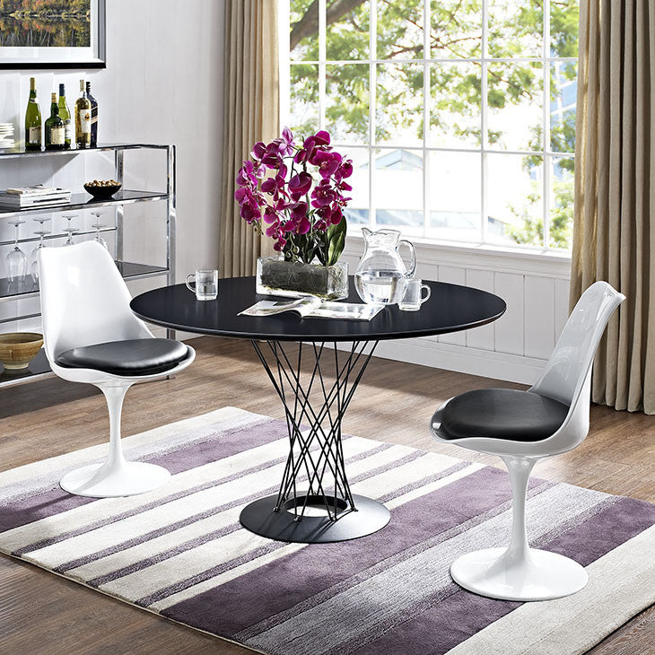 Modway Furniture Cyclone Wood Top Metal Base Dining Table