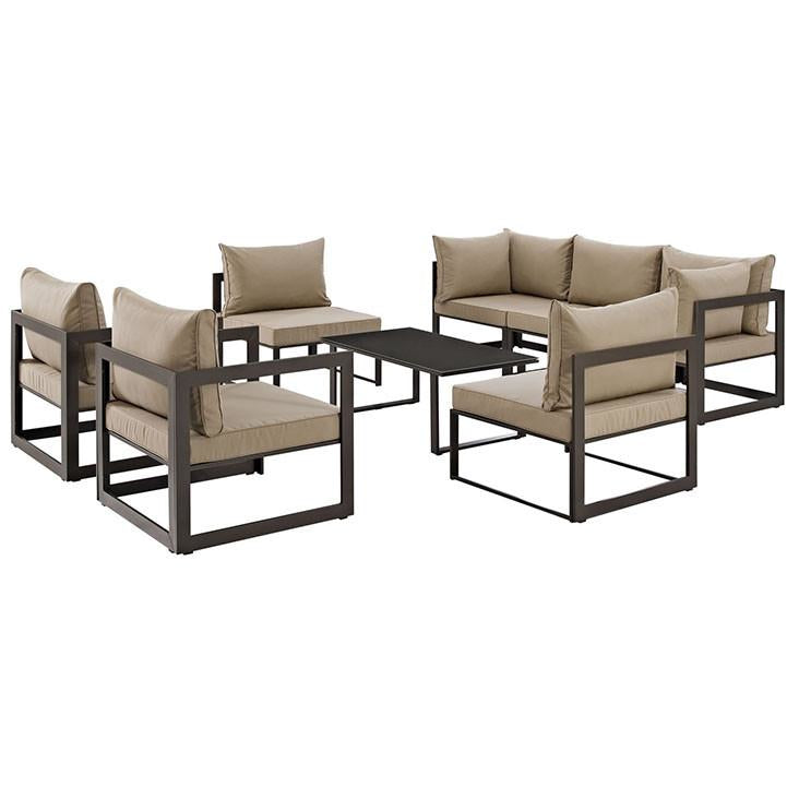 Modway Furniture Modern Fortuna 8 Piece Outdoor Patio Sectional Sofa Set EEI-1725-Minimal & Modern