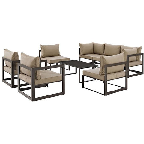 Modway Furniture Modern Fortuna 8 Piece Outdoor Patio Sectional Sofa Set Brown Mocha, Sofa Sectionals - Modway Furniture, Minimal & Modern - 1