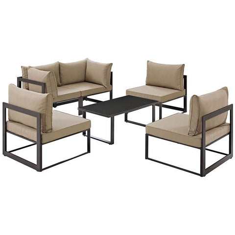 Modway Furniture Modern Fortuna 6 Piece Outdoor Patio Sectional Sofa Set Brown Mocha, Sofa Sectionals - Modway Furniture, Minimal & Modern - 1