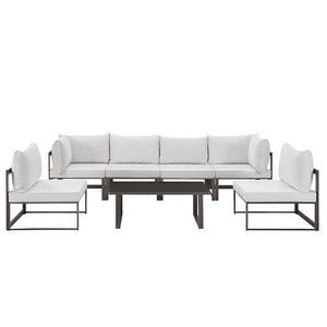 Modway Furniture Modern Fortuna 7 Piece Outdoor Patio Sectional Sofa Set EEI-1729-Minimal & Modern