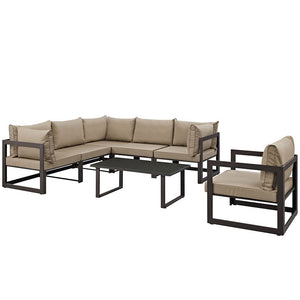 Modway Furniture Modern Fortuna 7 Piece Outdoor Patio Sectional Sofa Set EEI-1733-Minimal & Modern