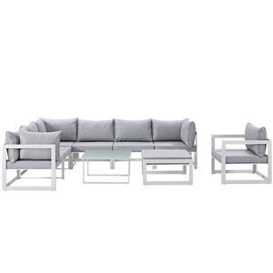 Modway Furniture Modern Fortuna 9 Piece Outdoor Patio Sectional Sofa Set EEI-1734-Minimal & Modern