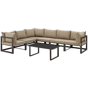Modway Furniture Modern Fortuna 7 Piece Outdoor Patio Sectional Sofa Set EEI-1737-Minimal & Modern