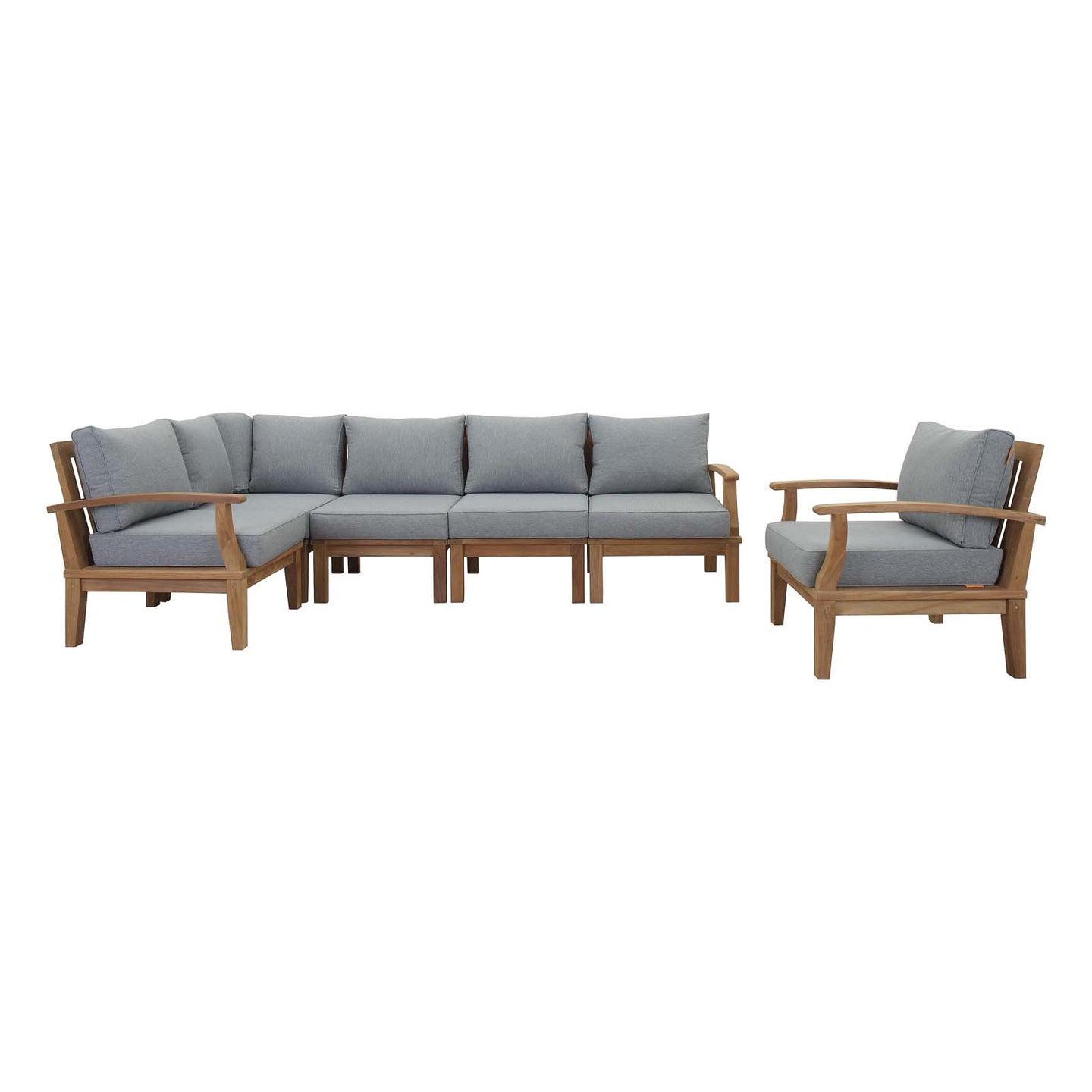 Modway Furniture Modern Marina 6 Piece Outdoor Patio Teak Sofa Set In Natural White EEI-1816-NAT-WHI-SET - Minimal and Modern