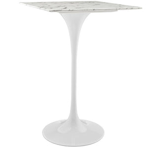 "Modway Furniture Modern Lippa 28"" Artificial Marble Bar Table in White EEI-1828-WHI-Minimal & Modern"