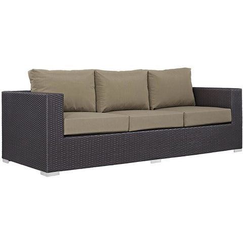 Modway Furniture Modern Convene Outdoor Patio Sofa Espresso Mocha, Sofa Sectionals - Modway Furniture, Minimal & Modern - 1