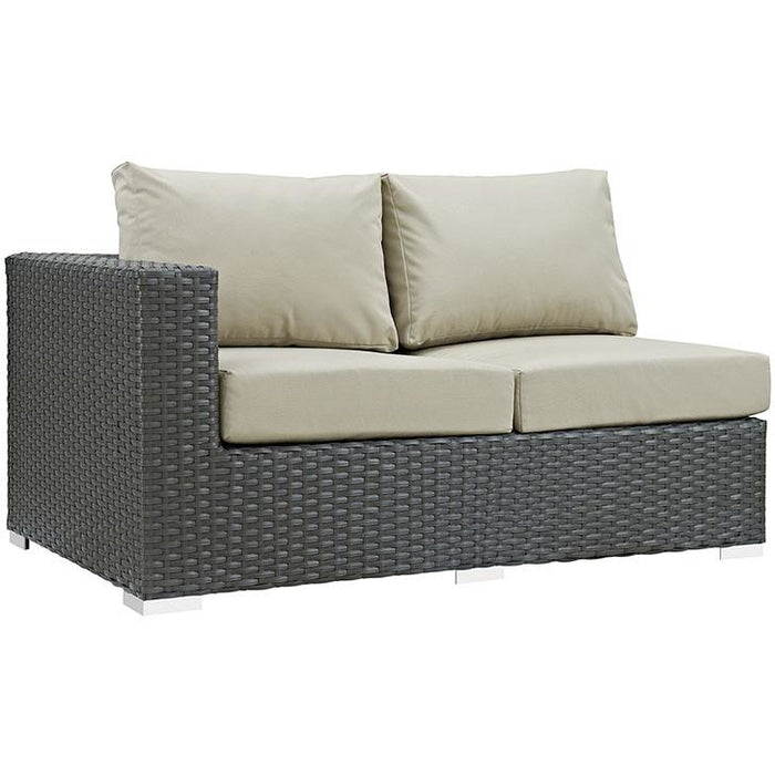 Modway Furniture Modern Sojourn Outdoor Patio Left Arm Loveseat in Sunbrella® Antique Canvas Beige, Daybeds and Lounges - Modway Furniture, Minimal & Modern - 1