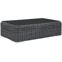 Modway Furniture Modern Summon Outdoor Patio Glass Top Coffee Table in Gray EEI-1866-GRY-Minimal & Modern