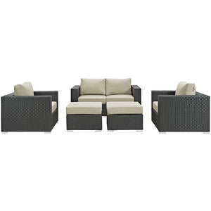 Modway Furniture Modern Sojourn 5 Piece Outdoor Patio Sectional Set in Sunbrella EEI-1879-Minimal & Modern