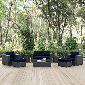 Modway Furniture Modern Sojourn 8 Piece Outdoor Patio Sectional Set in Sunbrella EEI-1880-CHC-Minimal & Modern