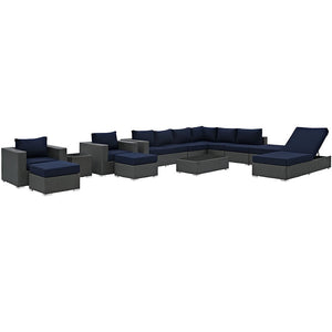 Modway Furniture Modern Sojourn 12 Piece Outdoor Patio Sectional Set in Sunbrella EEI-1884-Minimal & Modern