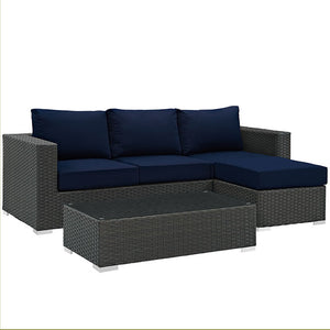 Modway Furniture Modern Sojourn 3 Piece Outdoor Patio Sectional Set in Sunbrella EEI-1889-Minimal & Modern