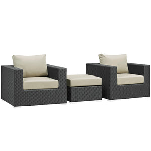 Modway Furniture Modern Sojourn 3 Piece Outdoor Patio Sectional Set in Sunbrella EEI-1891 - Minimal and Modern