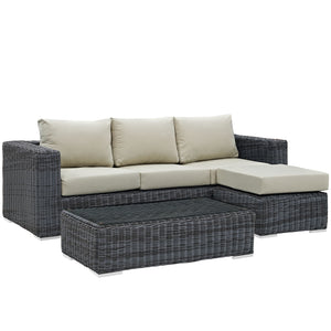 Modway Furniture Modern Summon 3 Piece Outdoor Patio Sunbrella® Sectional Set - EEI-1903
