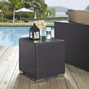Modway Furniture Modern Convene Outdoor Patio Side Table in Espresso EEI-1909-Minimal & Modern