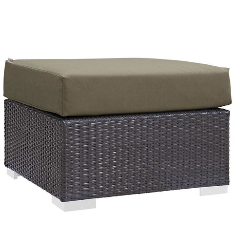 Modway Furniture Modern Convene Outdoor Patio Fabric Ottoman Espresso Mocha, Outdoor Ottomans - Modway Furniture, Minimal & Modern - 1
