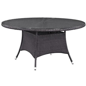 "Modway Furniture Modern Convene 59"" Round Outdoor Patio Dining Table in Espresso EEI-1918-EXP-Minimal & Modern"