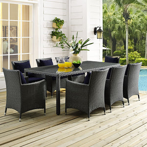 "Modway Furniture Modern Sojourn 82"" Outdoor Patio Dining Table in Chocolate EEI-1931-CHC-Minimal & Modern"