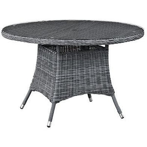 "Modway Furniture Modern Summon 47"" Round Outdoor Patio Dining Table in Gray EEI-1938-GRY-Minimal & Modern"