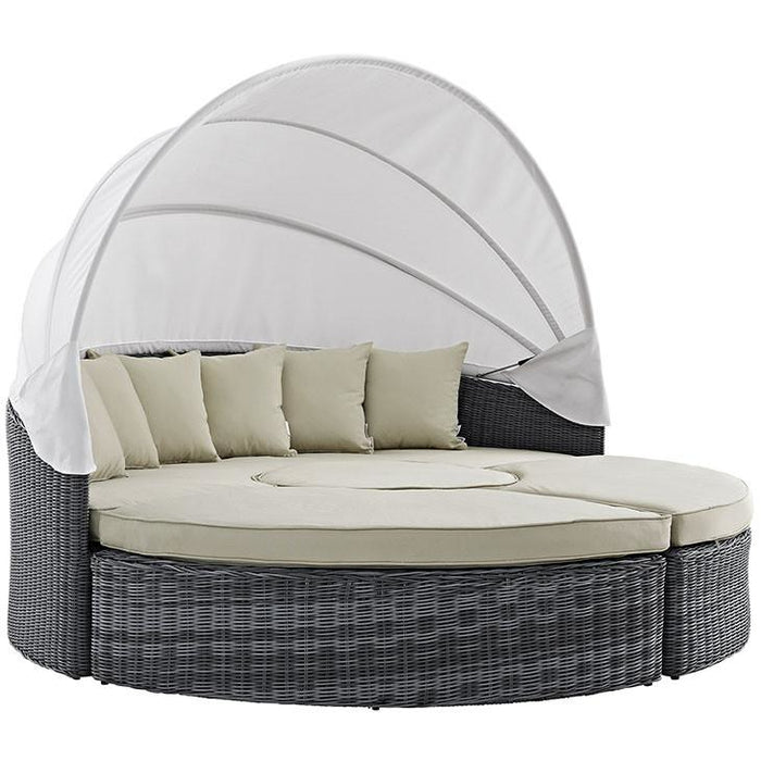 Modway Furniture Modern Summon Canopy Outdoor Patio Daybed in Sunbrella® Antique Canvas Beige, Daybeds and Lounges - Modway Furniture, Minimal & Modern - 1