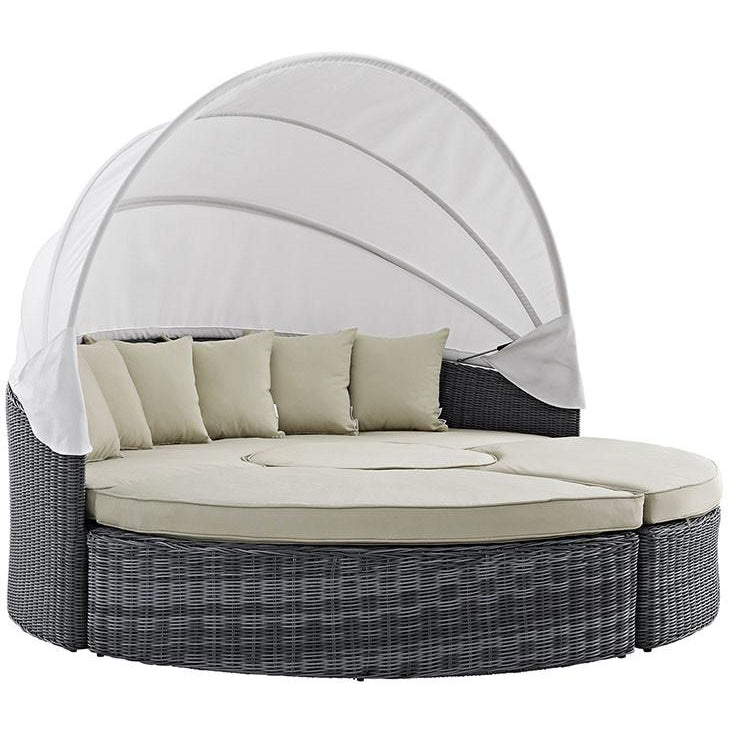outdoor patio daybed. modway furniture modern summon canopy outdoor patio daybed in sunbrella® antique canvas beige, daybeds