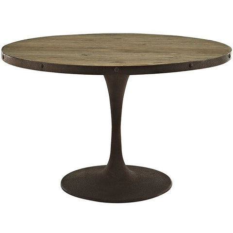 "Modway Furniture Modern Drive 48"" Round Metal & Wood Top Dining Table in Brown , Dining Tables - Modway Furniture, Minimal & Modern - 1"