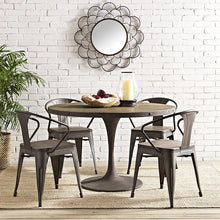 "Modway Furniture Modern Drive 48"" Round Metal & Wood Top Dining Table in Brown EEI-2004-BRN-SET-Minimal & Modern"