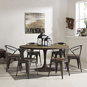 "Modway Furniture Modern Drive 60"" Round Metal & Wood Dining Table in Brown EEI-2005-BRN-SET-Minimal & Modern"