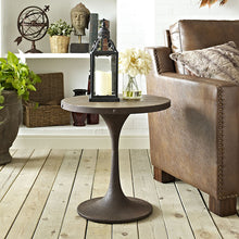 Modway Furniture Modern Industrial Drive Wood Top & Metal and Side Table in Brown EEI-2007-BRN-Minimal & Modern