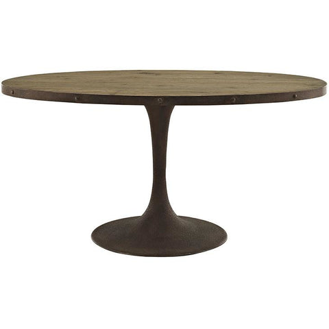 "Modway Furniture Modern Drive 60"" Oval Metal & Wood Top Dining Table , Dining Tables - Modway Furniture, Minimal & Modern - 1"
