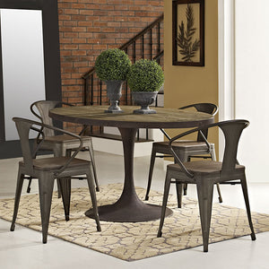 "Modway Furniture Modern Drive 60"" Oval Metal & Wood Top Dining Table EEI-2008-BRN-SET-Minimal & Modern"