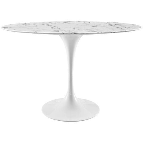 "48"" Oval-Shaped Artificial Marble Circular Dining Table in White , Dining Tables - Lanna Furniture, Minimal & Modern - 1"