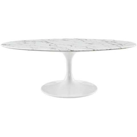 "Modway Furniture Modern Lippa 48"" Oval-Shaped Artificial Marble Coffee Table in White , Dining Tables - Modway Furniture, Minimal & Modern - 1"