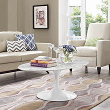 "Modway Furniture Modern Lippa 48"" Oval-Shaped Artificial Marble Coffee Table in White EEI-2022-WHI-Minimal & Modern"