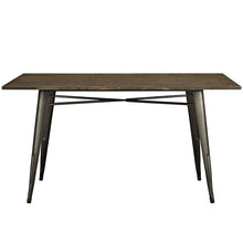 "Modway Furniture Alacrity 59"" Rectangle Metal and Wood Dining Table in Brown EEI-2034-BRN-Minimal & Modern"