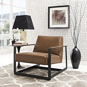 Modway Furniture Modern Seg Bonded Leather Accent Chair in Brown EEI-2075-BRN-Minimal & Modern