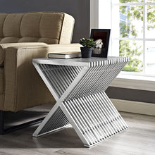 Modway Furniture Modern Press Stainless Steel Side Table in Silver EEI-2096-SLV-Minimal & Modern