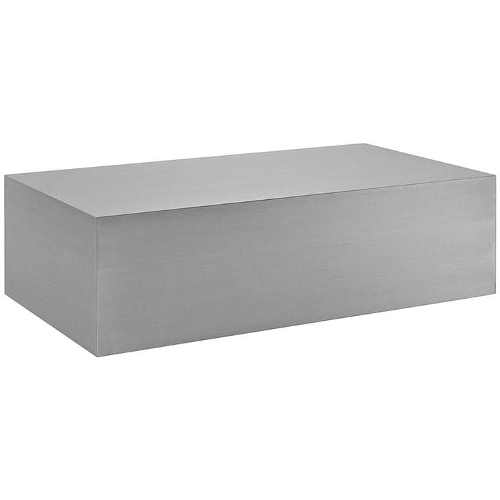 Modway Furniture Modern Cast Stainless Steel Coffee Table in Silver EEI-2098-SLV-Minimal & Modern