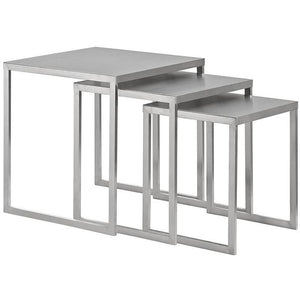 Modway Furniture Modern Rail Stainless Steel Nesting Table in Silver EEI-2099-SLV-Minimal & Modern