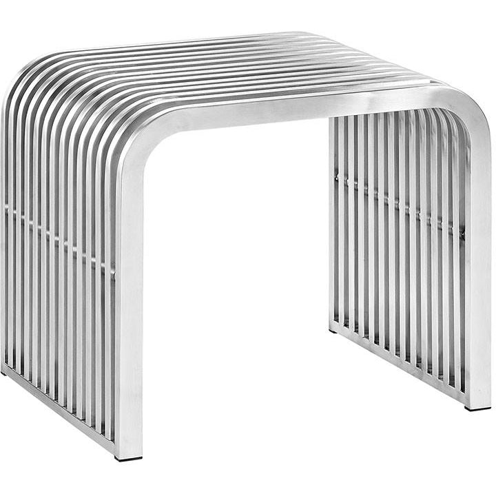 Modway Furniture Modern Pipe Stainless Steel Bench in Silver EEI-2100-SLV-Minimal & Modern