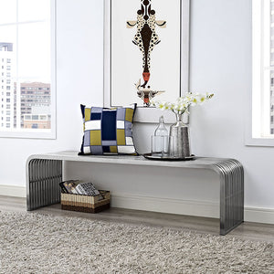 Modway Furniture Modern Pipe Stainless Steel Bench in Silver EEI-2103-SLV-Minimal & Modern