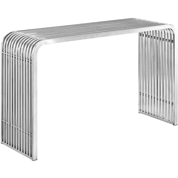 Modway Furniture Modern Pipe Stainless Steel Console Table Desk in Silver EEI-2104-SLV-Minimal & Modern