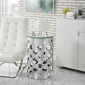 Modway Furniture Modern Etch Stainless Steel Glass Top Side Table in Silver EEI-2107-SLV-Minimal & Modern