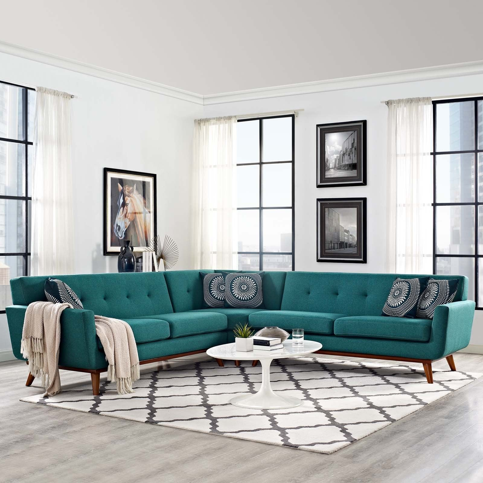 Modway Furniture Modern Fabric Engage L-Shaped Sectional Sofa EEI-2108