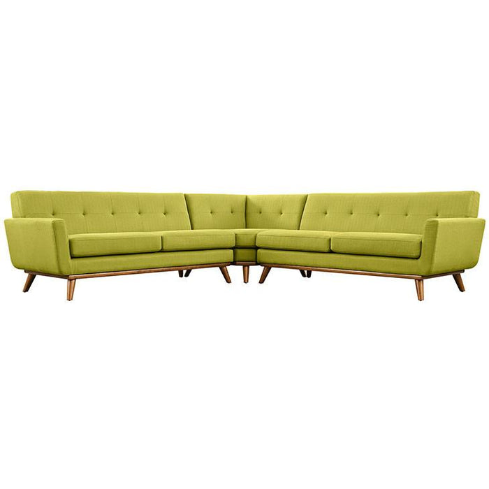 Modway Furniture Modern Fabric Engage L-Shaped Sectional Sofa Wheat, Sofas - Modway Furniture, Minimal & Modern - 1