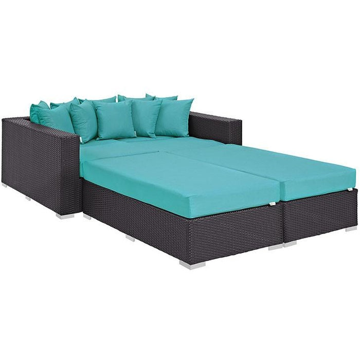 Modway Furniture Modern Convene 4 Piece Outdoor Patio Daybed Espresso Turquoise, Daybeds and Lounges - Modway Furniture, Minimal & Modern - 1