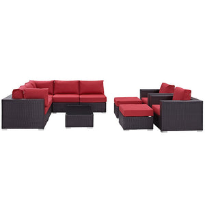 Modway Furniture Modern Convene 10 Piece Outdoor Patio Sectional Set EEI-2169-Minimal & Modern