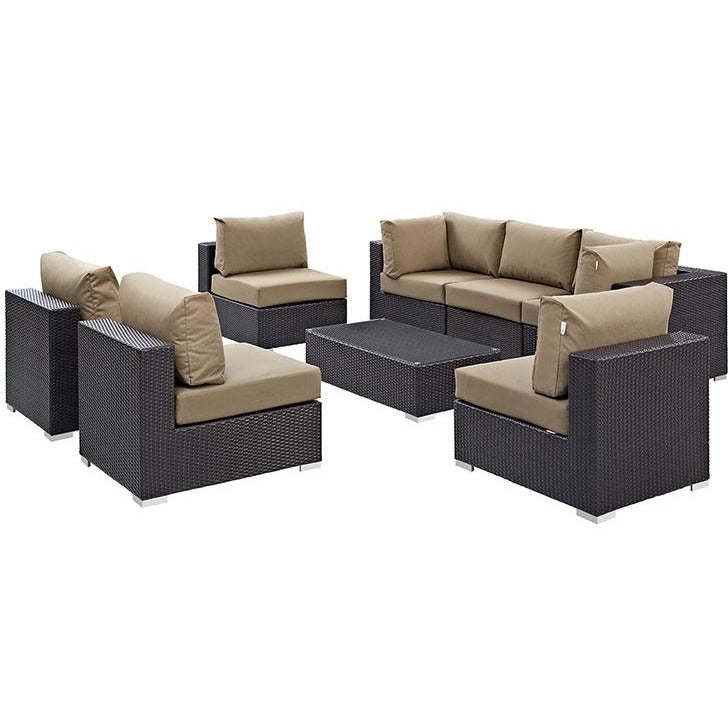 Modway Furniture Modern Convene 8 Piece Outdoor Patio Sectional Set EEI-2205-Minimal & Modern